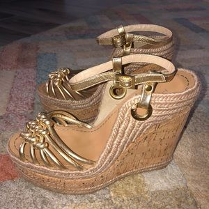 H by Halston Gold Metallic Espadrille Wedges, Sz 7